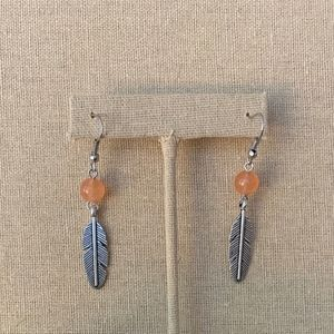 Agate Feather Earrings